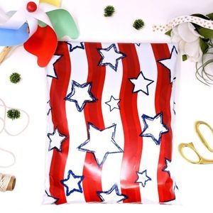 30 Red White Blue Stars America Poly Mailers 10x13